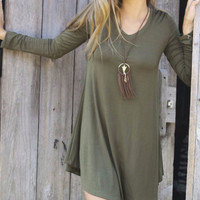 Come Around Olive V-Neck Long Sleeve Jersey Swing Dress