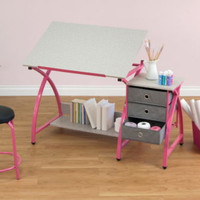 Modern Drafting Table With Stool And Storage Drawers Home Office Furniture New