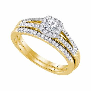 14kt Yellow Gold Womens Princess Diamond Split-shank Bridal Wedding Engagement Ring Band Set 1/2 Cttw