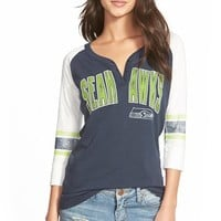 Junior Women's 47 Brand 'Seattle Seahawks - Rookie' Three-Quarter Sleeve Graphic Henley,