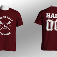 Hale 00 Beacon Hills Lacrosse Teen Wolf Men Short Sleeves Maroon Tshirt tee