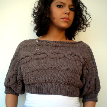 Taupe Cabled Short Sweater Trendy wool Hand Knit Woman Sweater NEW