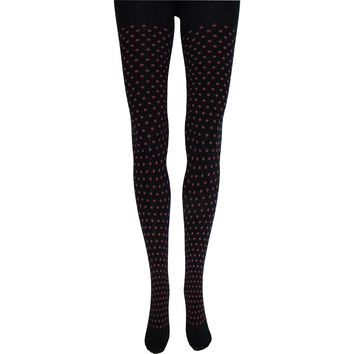 Little Fuchsia Polka Dot Tights in Black