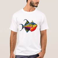 Psychedelic Colorful Triggerfish Fish Drawing T-Shirt