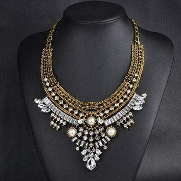 Women Fashion Pendant Chain Crystal Choker Chunky Bib Necklace Jewelry Gold