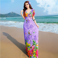 Purple Floral Print Short Sleeve V Neck Maxi Dress