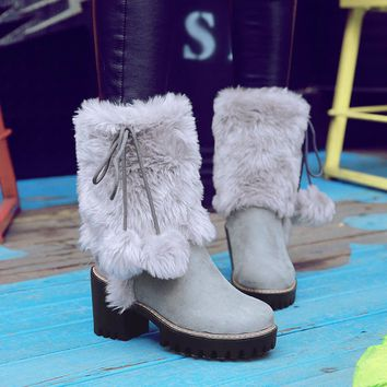 Faux Fur Mid Calf Boots | Women's Round Toe Boots