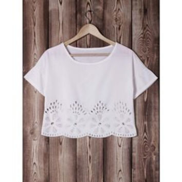 Women's Stylish Jewel Neck 1/2 Sleeve Lace Loose Crop Top