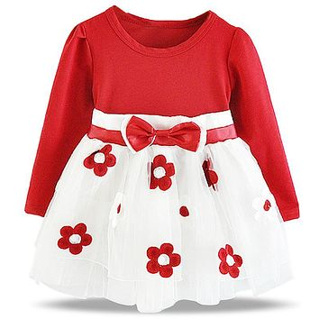 Toddler Baby Girl Tutu Dress Kids Clothes Flower Design Girls Dresses Brand 1 Year Birthday Outfits Autumn Winter Bebes Clothing
