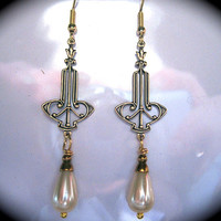 1920s 1930s Art Deco vintage style earrings long cream pearl drop dangle gold filled hooks