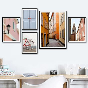 House Door Tower Streetlight Nordic Posters And Prints Wall Art Print Canvas Painting Wall Pictures For Living Room Home Decor