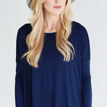 Basic Piko 1988 Navy Blue Bamboo Piko Comfy Boat Neck Long Sleeve Slouchy Knit Tee Shirt Top