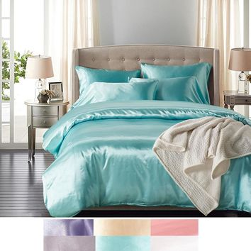 Cool HOT! 100% Pure Satin Silk Bedding Set,Home Textile King Size Bed Set,Bedclothes,Queen Size Duvet Cover Pillowcases Bedding SetAT_93_12