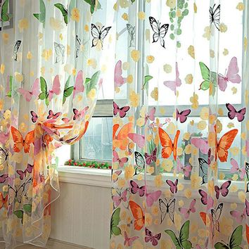 Romantic Butterfly Curtains yarn Tulle Curtain Customize Curtains For Living Window Curtain Screening for Living Room Home Decor