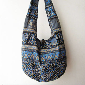 tribal crossbody bag ,ethnic messenger bag, elephant bag in blue, hipster shoulder bag boho sling bag, indian bag chrismas gift floral hobo
