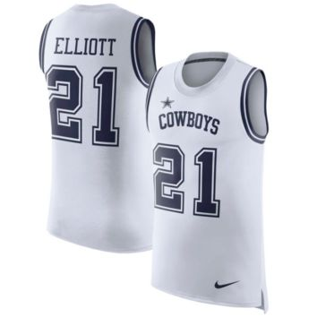 KUYOU Dallas Cowboys Jersey - Ezekiel Elliott White Color Rush Tank Top