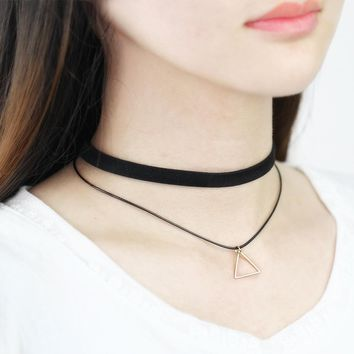 17KM 2016 New Fashion Triangle Leather Tassel Multilayer Gothic Chain Collier Femme Pendant Choker Collar Necklace For Women
