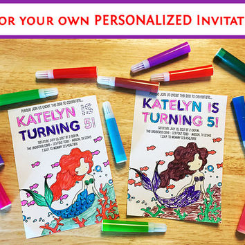 DIY Mermaid Invitations - Color Your Own Invitation - Under The Sea Birthday - Girl Invitation Kit - Ocean Theme - Mermaids Birthday Party