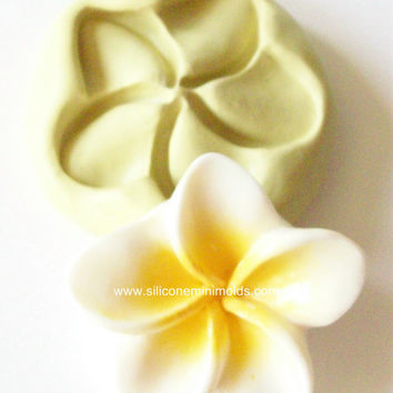 Plumeria mold 605 - silicone mold, craft mold, porcelain mold, jewelry mold, food mold, pop up mold, clays mold, flexible mold
