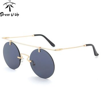 DRESSUUP Steampunk Round Sunglasses Women Brand Designer Reflective Shades Fashion Men Coating Sun Glasses For Woman