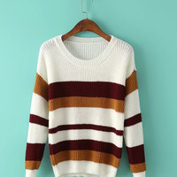 Striped Color Block Long Sleeve Sweater