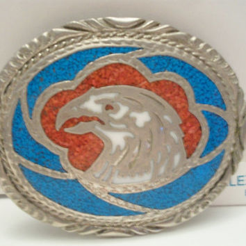 VINTAGE 1988  Belt Buckle Eagle Coral Turquoise Silver Tone  tomahawk design.Native American