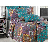 Tache Purple Floral Paisley Galore Reversible Bedspread Set (HS1702)