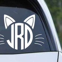 Cat Monogram Die Cut Vinyl Decal Sticker