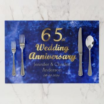 65th Sapphire Wedding Anniversary Gold Typography Paper Placemat