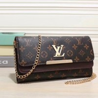 Louis Vuitton Women Fashion Leather Chain Satchel Shoulder Bag Handbag Crossbody