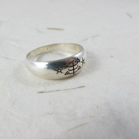 Bahai Ring stone symbol Engraving Sterling silver UNISEX ring.