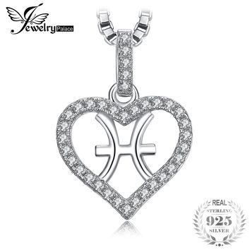 JewelryPalace Zodiac Constellation Pisces Heart Love 0.2ct Cubic Zirconia Pendant Necklace 925 Sterling Silver 45CM Box Chain