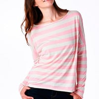 Pink Striped High-Low Boyfriend Top