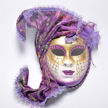 Halloween masquerade Venice, antique painting flowers full face party show female mask