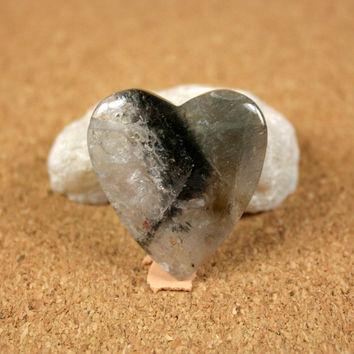 Phantom Quartz Heart Pendant - Green, Grey and Clear Top Drilled Focal Bead
