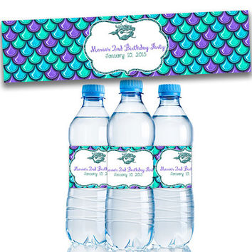 Mermaid Water Bottle Labels - Mermaid Birthday Decorations - Mermaid Party Favors - Under The Sea Birthday - Personalized