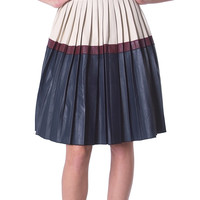 Color Caring Pleats Skirt - Cream/Navy