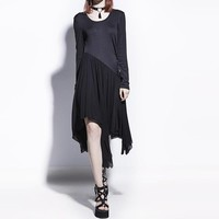 Asymmetrical Dress Goth Casual Dresses Patchwork Fashion A-Line Slim Gothics Asymmetrica Dress