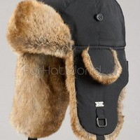 Black Trapper Hat with Faux Fur