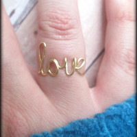 Wire love ring - Word ring - Adjustable or non adjustable - Brass - Gold color - Unique bridesmaid gift - Gift boxed