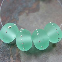 Etched Pale Emerald Green Lampwork Beads Sea Glass Silver 031efs Etched Pale Emerald Green Lampwork Beads Silver Frosted Glass - Emerald Green Glass Handmade Lampwork Beads Wrapped In Fine Silver by Covergirlbeads Texas Glass Artist, Charlotte Hayes [] - $