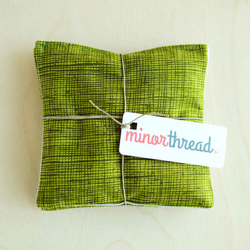 Organic Lavender Sachets in Natural Linen and Green Sketch Cotton Set of 2