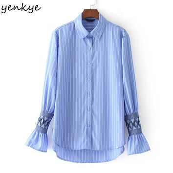 Fashion Women Striped Blouse Shirt Lapel Honeycomb Lattice Long Sleeve Autumn Blouses Lady Shirts