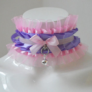 Kittenplay collar - Spoiled princess - kitten play ddlg princess daddy girl kink choker with bell - pastel pink and lilac violet lolita cgl
