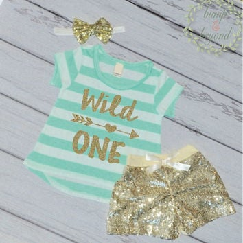 Wild One First Birthday Outfit Girl First Birthday T-Shirt Shorts Headband Set 1st Birthday Girl 023