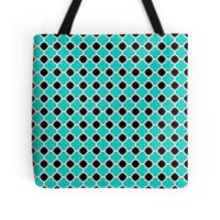 Black White and Turquoise Quatrefoil Pattern by TigerLynx