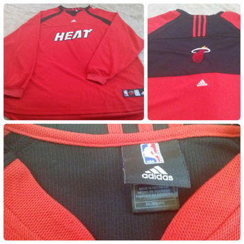NBA Adidas Authentic Miami Heat Player #10 Warm Up Jersey Red Black Size 3XL (40