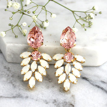 Bridal Earrings, Blush Chandelier, Blush White Opal Chandelier, White Opal Crystal Swarovski Chandelier Earrings, Bridal Chandeliers