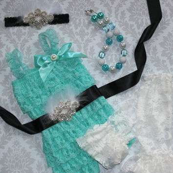 Baby Lace Romper Set- Photo Prop- Smash Cake Outfit- First Birthday Outfit-Tiffany and Co. Inspired Outfit-Aqua Romper