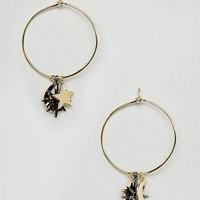 Orelia Moon & Star Charm Hoop Earrings at asos.com